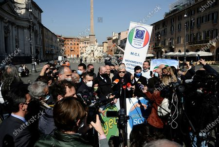 "Stock Photo of Vittorio Sgarbi in Piazza Navona presents to the press his candidacy for the elections of the mayor of Rome with his ""Renaissance"" list"