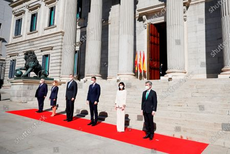 The attempted coup of 23F was a historic episode, one of the most momentous moments of the Transition to democracy.  King Felipe VI (3l); the President of the Government, Pedro Sanchez (3rd), the President of the Constitutional Court Juan Jose Gonzalez Rivas (l), the President of the Congress Meritxell Batet (2nd), the President of the Senate, Pilar Llop (2nd) and the President of the Supreme Court Carlos Lesmes Serrano (r)