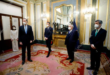 The attempted coup of 23F was a historic episode, one of the most momentous moments of the Transition to democracy.  King Felipe VI (2nd) together with the President of the Government, Pedro Sanchez (c), the President of the Constitutional Court Juan Jose Gonzalez Rivas (2nd), the President of the Senate, Pilar Llop (l) and the President of the Supreme Court Carlos Lesmes Serrano (r)