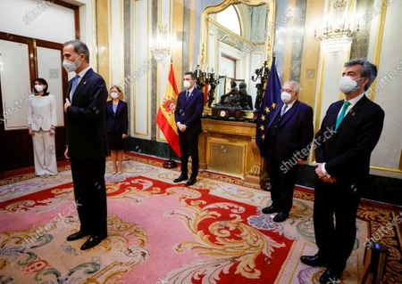 The attempted coup of 23F was a historic episode, one of the most momentous moments of the Transition to democracy.  King Felipe VI (2l); the President of the Government, Pedro Sanchez (c), the President of the Constitutional Court Juan Jose Gonzalez Rivas (2nd), the President of Congress, Meritxell Batet (3rd) the President of the Senate, Pilar Llop (l) and the President of the Supreme Court Carlos Lesmes Serrano (r)