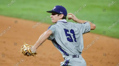 Stock Picture of Stephen F. Austin's Grant Walters (51) throws during warm ups between innings during an NCAA baseball game against Oklahoma, in Arlington, Texas. Stephen F. Austin won 9-5
