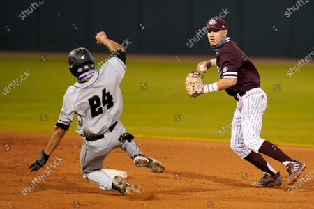 Abilene Christian's Mike Brown (24) is forced out at second base as Texas A&M's Kalae Harrison (4) throws to first to complete a double play during an NCAA baseball game on in College Station, Texas
