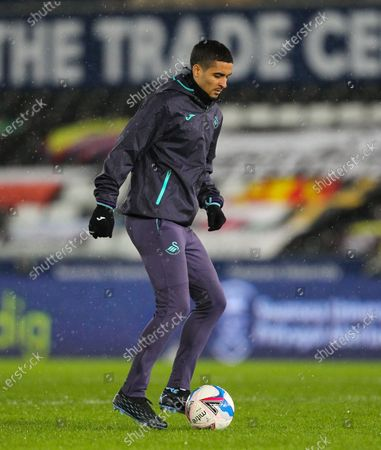 Kyle Naughton of Swansea City during the warm up; Liberty Stadium, Swansea, Glamorgan, Wales; English Football League Championship Football, Swansea City versus Coventry City.