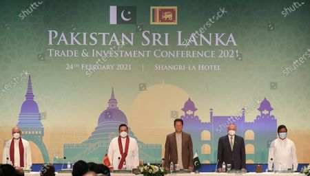 Pakistan's Prime Minister Imran Khan (C-R) and Sri Lankan Prime Minister Mahinda Rajapaksa (C-L) attend the Pakistan-Sri Lanka Trade and Investment Conference in Colombo, Sri Lanka, 24 February 2021. Khan is on a two-day official visit to Sri Lanka.