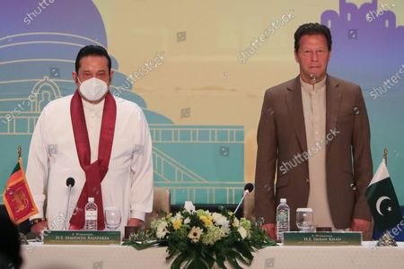 Pakistan's Prime Minister Imran Khan (R) and Sri Lankan Prime Minister Mahinda Rajapaksa (L) attend the Pakistan-Sri Lanka Trade and Investment Conference in Colombo, Sri Lanka, 24 February 2021. Khan is on a two-day official visit to Sri Lanka.