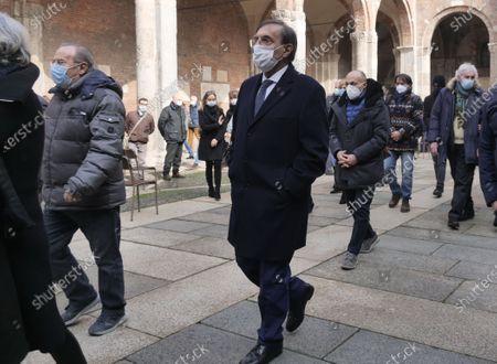 Ignazio La Russa at  Mauro Bellugi funeral in Milan, Lombardy, Italy
