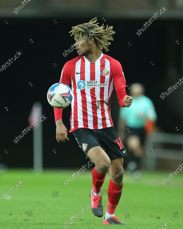 Dion Sanderson of Sunderland during the Sky Bet League 1 match between Sunderland and Fleetwood Town at the Stadium Of Light, Sunderland on Tuesday 23rd February 2021. (Photo by Mark Fletcher/MI News/NurPhoto)