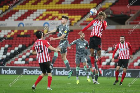 Sunderland's Dion Sanderson heads clear during the Sky Bet League 1 match between Sunderland and Fleetwood Town at the Stadium Of Light, Sunderland on Tuesday 23rd February 2021. (Photo by Mark Fletcher/MI News/NurPhoto)