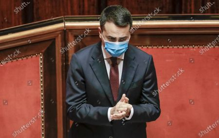 Italian Foreign Minister Luigi Di Maio claps his hands after addressing the Lower Chamber of Parliament in Rome, on the killing of the Italian Ambassador to Congo Luca Attanasio, Italian Carabinieri officer Vittorio Iacovacci, and their driver Moustapha Milambo while they were traveling in a convoy near Goma, North Kivu province, Congo. Di Maio told lawmakers in Rome that Italy has asked both the United Nations and the U.N. World Food Program to open an investigation into the security arrangements for the U.N. food aid convoy in Congo which they were traveling in