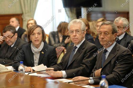 Francesco Profumo, education minister, Elsa Fornero, minister, Prime Minister Mario Monti and Antonio Catricala, undersecretary