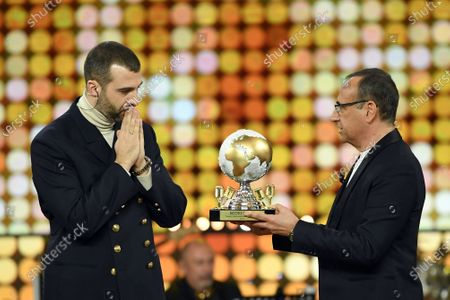 Russian Ivan Urgant, presenter of the New Year's TV show 'Hello 2020' with italian TV presenter Carlo Conti