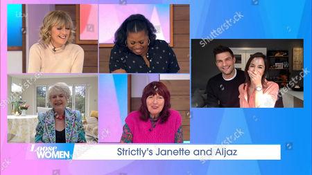 Stock Image of Jane Moore, Brenda Edwards, Gloria Hunniford, Janet Street-Porter, Aljaz Skorjanec and Janette Manrara