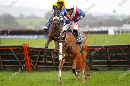Forever Des Long and Richard Johnson lead winner Method Madness and Lee Edwards over the last in the Proper Good Dairy Maiden Hurdle at Ludlow.