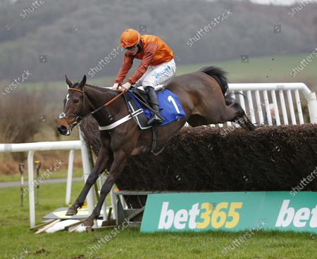 Lust For Glory and James Bowen jump the last to win the EBF Mares' Novices' Chase at Ludlow.