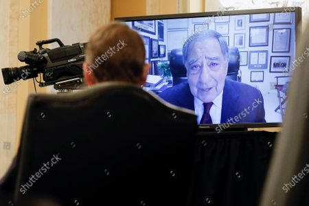 Former CIA Director Leon Panetta is seen delivering a statement and introduction via video conference on behalf of William Burns during a Senate Intelligence Committee hearing on the nomination of Burns to be director of the Central Intelligence Agency on Capitol Hill in Washington