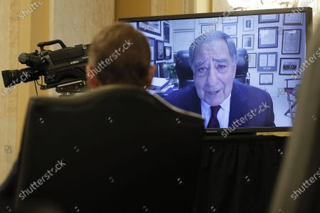 Former CIA Director Leon Panetta is seen delivering a statement and introduction via video conference on behalf of William Burns during a Senate Intelligence Committee hearing on the nomination of Burns to be director of the Central Intelligence Agency on Capitol Hill in Washington, DC on February 24, 2021.