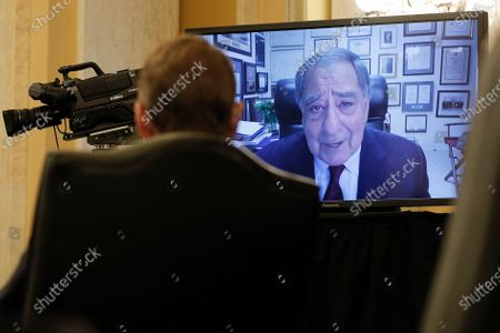 Stock Image of Former CIA Director Leon Panetta is seen delivering a statement and introduction via video conference on behalf of William Burns during a Senate Intelligence Committee hearing on the nomination of Burns to be director of the Central Intelligence Agency on Capitol Hill in Washington, U.S.,.