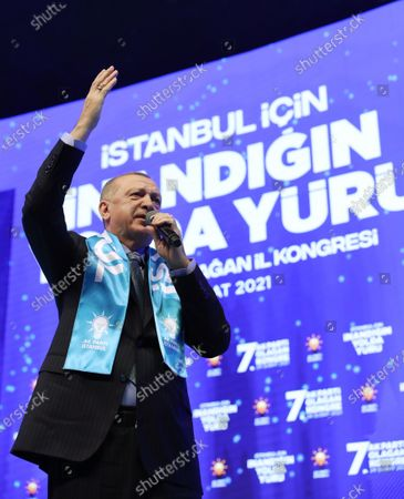 Stock Photo of A handout photo made available by the Turkish Presidential Press Office shows, Turkish President Recep Tayyip Erdogan speaking during an ordinary party congress of his Justice and Development Party (AKP) in Istanbul, Turkey, 24 February 2021. Turkey's ruling AKP holds its seventh regular grand congress.