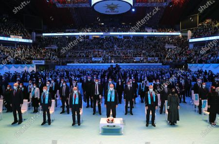 Stock Image of A handout photo made available by the Turkish Presidential Press Office shows, Turkish President Recep Tayyip Erdogan (C) attending an ordinary party congress of his Justice and Development Party (AKP) in Istanbul, Turkey, 24 February 2021. Turkey's ruling AKP holds its seventh regular grand congress.