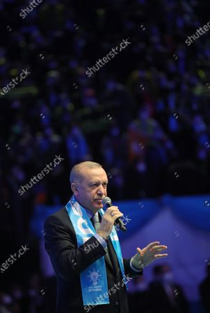 A handout photo made available by the Turkish Presidential Press Office shows, Turkish President Recep Tayyip Erdogan speaking during an ordinary party congress of his Justice and Development Party (AKP) in Istanbul, Turkey, 24 February 2021. Turkey's ruling AKP holds its seventh regular grand congress.