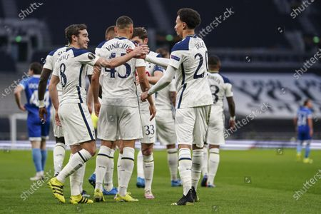 Dele Alli of Tottenham Hotspur celebrates scoring the opening goal with Harry Winks of Tottenham Hotspur
