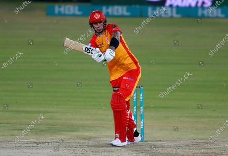 Stock Image of Islamabad United Alex Hales plays a shot during a Pakistan Super League T20 cricket match between Karachi Kings and Islamabad United at the National Stadium, in Karachi, Pakistan
