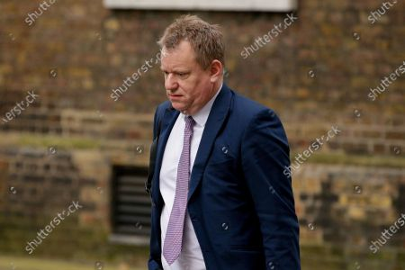 Former Brexit negotiator David Frost walks up Downing Street in London, England, on February 24, 2021. Frost has been appointed to lead the building of a new relationship with the European Union and is to become a full cabinet member next month.