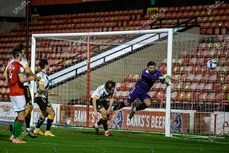 Tom King of Newport County clears ball during the EFL Sky Bet League 2 match between Walsall and Newport County at the Banks's Stadium, Walsall