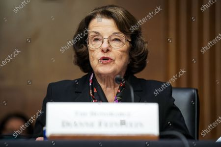 Sen. Dianne Feinstein (D-Calif.) introduces Xavier Becerra, nominee for Secretary of Health and Human Services, during his Senate Finance Committee nomination hearing on Capitol Hill in Washington, DC on February 24, 2021. If confirmed, Becerra would be the first Latino secretary of HHS.