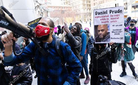 Protestors gather outside the offices of New York Attorney General Letitia James during a Black Lives Matter protest in response to yesterday's news that the Rochester, New York police officers involved in last year's death of Daniel Prude will not be indicted in New York, New York, USA, 24 February 2021. Prude died on 23 March 2020 after police officers responded to the house where he was staying, handcuffed him and placed him a mesh hood over his head, reportedly in response to Prude spitting. Prude stopped breathing on the scene, was resuscitated by paramedics but died in the hospital a week later.