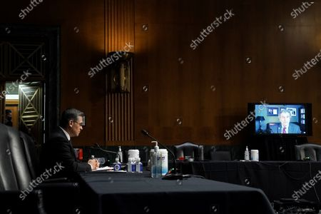 United States Senator Sherrod Brown (Democrat of Ohio) questions Xavier Becerra, nominee for Secretary of Health and Human Services, remotely during his Senate Finance Committee nomination hearing at Capitol Hill in Washington, D.C.