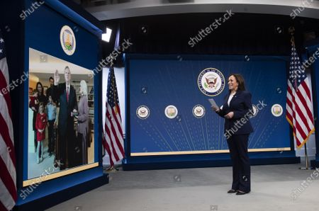 Vice President Kamala Harris participate in the virtual ceremonial swearing-in ceremony for Tom Vilsack to be Secretary of Agriculture, in the Eisenhower Executive Office Building