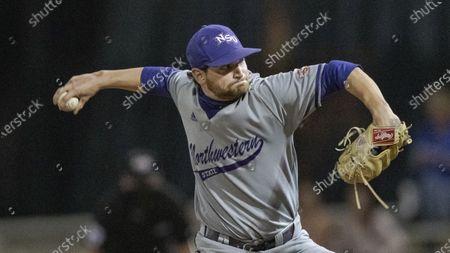 Stock Photo of Northwestern State pitcher Evan Daigle (38) throws during an NCAA baseball game against Louisiana Monroe, in Monroe, La