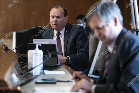 Stock Image of United States Senator Mike Lee (Republican of Utah), speaks during a Senate Energy and Natural Resources Committee confirmation hearing for Representative Deb Haaland, a Democrat from New Mexico and secretary of the interior nominee for U.S. President Joe Biden, in Washington, D.C., U.S.,. Haaland downplayed her past opposition to fracking during a heated hearing yesterday as she sought to reassure senators worried she would clamp down on fossil fuel development.