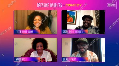 "Cedric the Entertainer, Lil Rel Howery and Wanda Sykes took part in a lively panel discussion moderated by Yvette Nicole Brown for the Television Academy's online member event ""Breaking Barriers in Comedy: A Celebration of Black Television,"" on"