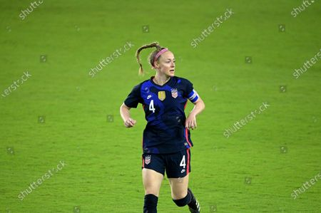 United States defender Becky Sauerbrunn (4) follows a play during the first half of a SheBelieves Cup women's soccer match against Argentina, in Orlando, Fla