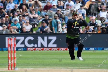 Australia's Aaron Finch successfully catches a ball to dismiss New Zealand's Tim Seifert during the second Twenty20 international cricket match between New Zealand and Australia at University Oval in Dunedin, New Zealand
