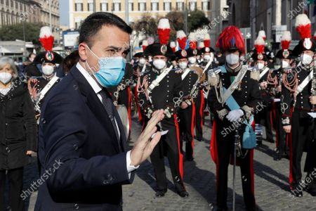 Foreign Minister Luigi di Maio arrives for the funeral of the Italian ambassador to the Democratic Republic of Congo Luca Attanasio and Italian Carabinieri police officer Vittorio Iacovacci, in Rome, . Italy is pressing the United Nations for answers about the attack Monday on a U.N. food aid convoy in Congo that left the young ambassador and his paramilitary police bodyguard dead