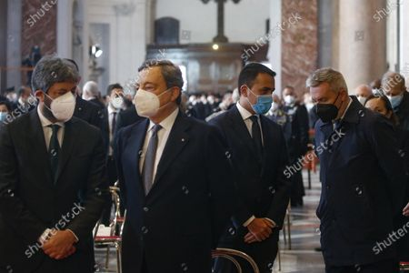 Roberto Fico, Mario Draghi, Luigi Di Maio and Lorenzo Guerrini, during the funeral ceremony of ambassador Luca Attanasio and carabiniere Vittorio Iacovacci taking place in the Roman Basilica of Santa Maria degli Angeli in Rome, Italy, 25 February 2021. Italian ambassador in the Congo, Luca Attanasio, and carabiniere Vittorio Iacovacci were killed in an attack in Congo on the road between Goma and Rutshuru.