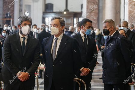 Members of government (L-R) Roberto Fico, Mario Draghi, Luigi Di Maio and Lorenzo Guerrini attend the funeral ceremony of ambassador Luca Attanasio and carabiniere Vittorio Iacovacci taking place in the Roman Basilica of Santa Maria degli Angeli in Rome, Italy, 25 February 2021. Italian ambassador in the Congo, Luca Attanasio, and carabiniere Vittorio Iacovacci were killed in an attack in Congo on the road between Goma and Rutshuru.