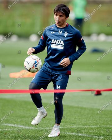 Takashi Inui of SD Eibar in action during the SD Eibar training session ahead of the match on Day 25 of La Liga Santander that will face Real Valladolid CF. Sports City of Atxabalpe on February 25, 2021 in Mondragon, Spain.
