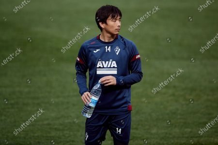 Takashi Inui of SD Eibar looks on during the SD Eibar training session ahead of the match on Day 25 of La Liga Santander that will face Real Valladolid CF. Sports City of Atxabalpe on February 25, 2021 in Mondragon, Spain.
