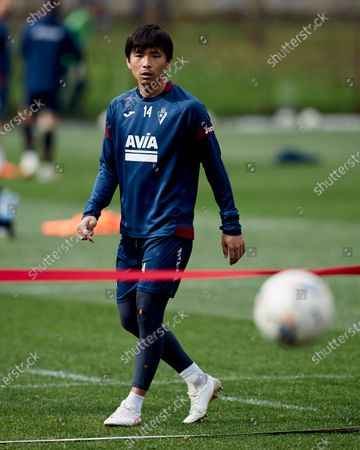 Stock Photo of Takashi Inui of SD Eibar looks on during the SD Eibar training session ahead of the match on Day 25 of La Liga Santander that will face Real Valladolid CF. Sports City of Atxabalpe on February 25, 2021 in Mondragon, Spain.
