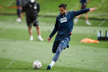 Jose Garcia, Recio of SD Eibar kicks the ball during the SD Eibar training session ahead of the match on Day 25 of La Liga Santander that will face Real Valladolid CF. Sports City of Atxabalpe on February 25, 2021 in Mondragon, Spain.
