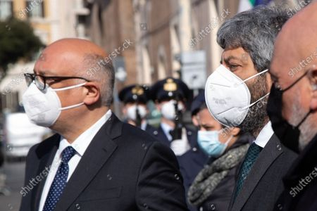 The President of the Chamber of Deputies Roberto Fico leaves Basilica of Santa Maria degli Angeli after funeral of Luca Attanasio and Vittorio Iacovacci