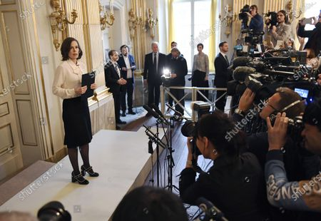 Permanent Secretary of the Swedish Academy Sara Danius announces that Bob Dylan is awarded the 2016 Nobel Prize in Literature during a presser at the Swedish Academy at the Old Stockholm Stock Exchange Building in Stockholm