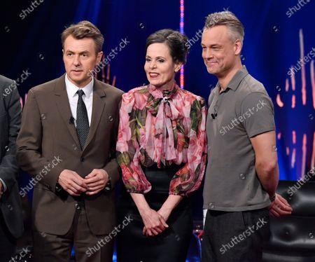 Fredrik Skavlan, Sara Danius, Henrik Schyffert at 'Skavlan' TV show, Stockholm, Sweden, February 01, 2017