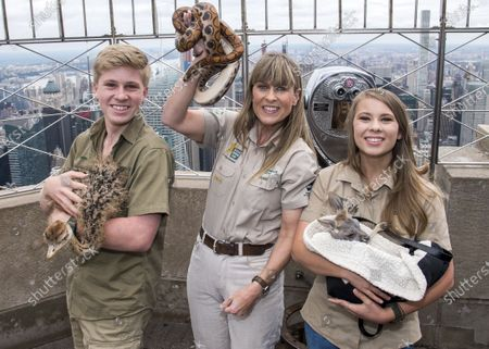 """Robert Irwin, from left, Terri Irwin and Bindi Irwin pose with animals as they visit the 86th floor observation deck at the Empire State Building in New York to promote their new Animal Planet television show """"Crikey! It's The Irwins"""" on . Robert Irwin has long acted as a voice for animals. Now he's actually voicing an animal. The 17-year-old son of the late conservationist Steve Irwin this week lends his voice to the character Alfie on the popular children's TV show"""