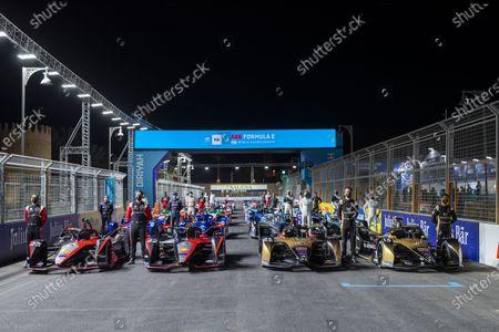 Stock Picture of The cars of Sebastien Buemi (CHE) Nissan e.Dams, Nissan IMO2, Oliver Rowland (GBR) Nissan e.Dams, Nissan IMO2, Jean-Eric Vergne (FRA) DS Techeetah, DS E-Tense FE20, and Antonio Felix da Costa (PRT) DS Techeetah, DS E-Tense FE20 during the 2021 Formula E Round 1 - Diriyah E-Prix