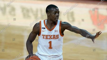 Texas guard Andrew Jones (1) during the first half of an NCAA college basketball game against Kansas, in Austin, Texas